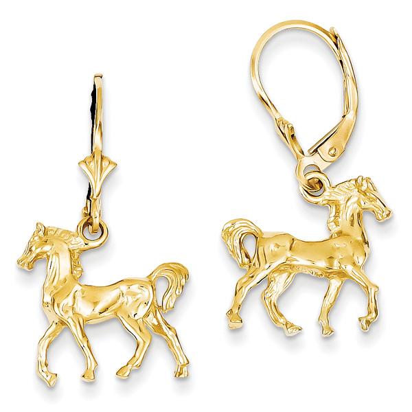 Lever-Back Horse Earrings in 14K Gold