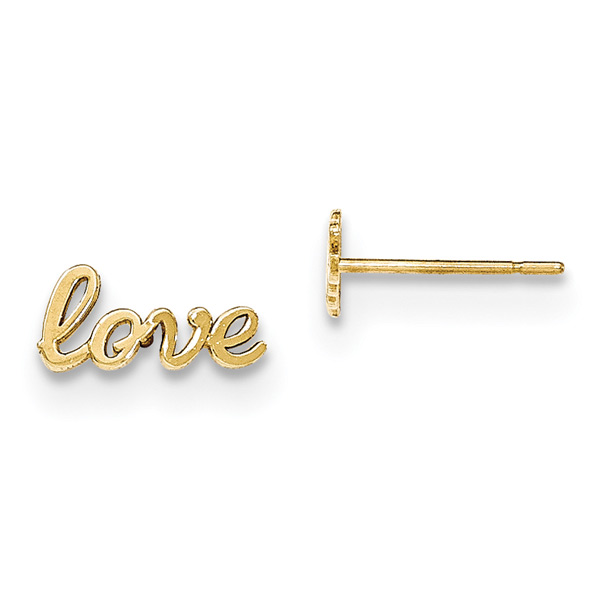 Love Stud Earrings, 14K Gold