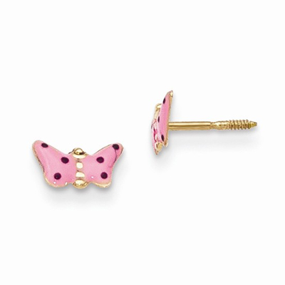 Pink Enameled Butterfly Earrings, 14K Gold