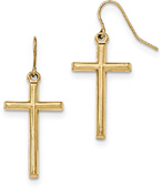 Plain Cross Dangle Earrings in 14K Gold