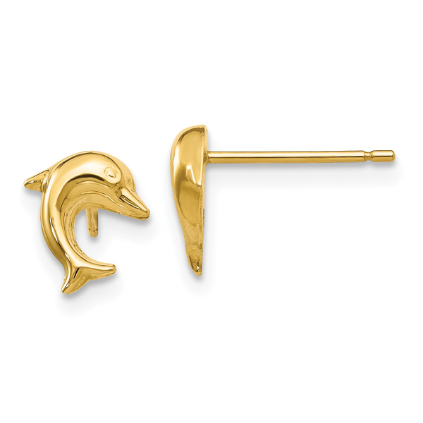Small Dolphin Stud Earrings, 14K Gold