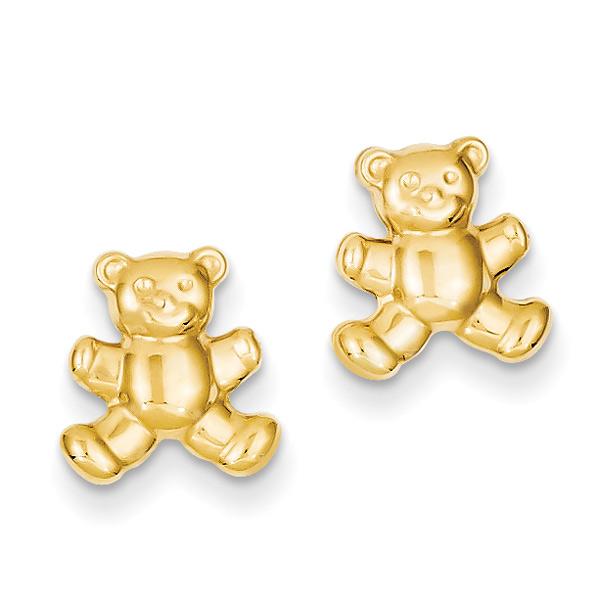 Teddy Bear Stud Earrings, 14K Gold