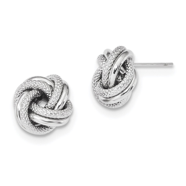 Textured 14K White Gold Love-Knot Earrings