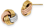 Textured Love-Knot Earrings in 14K Tri-Color Gold