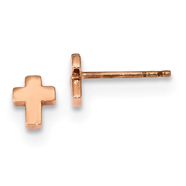 Tiny 14K Rose Gold Cross Stud Earrings