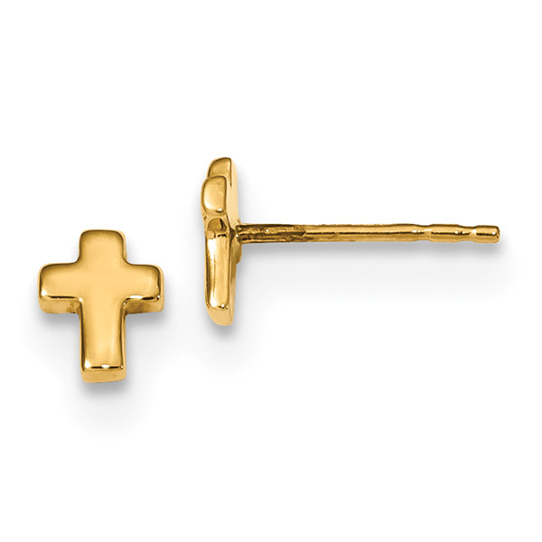 X-Small Cross Stud Earrings, 14K Gold