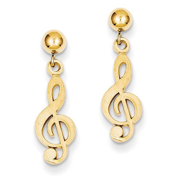 Treble Clef Dangle Post Earrings, 14K Gold