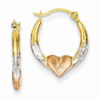 14K Gold & Rose Rhodium Heart Hoop Earrings