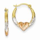 14K Gold & Rose Rhodium Heart Hoop Earrings