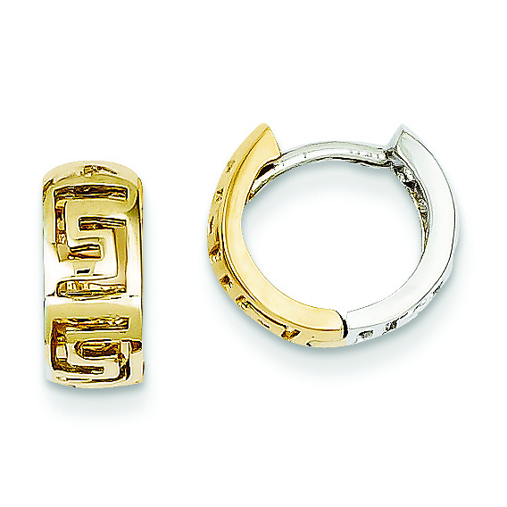 14K Two-Tone Gold Greek Key Huggie Earrings