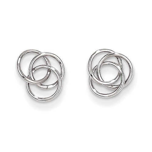 14K White Gold Trinity Knot Earrings
