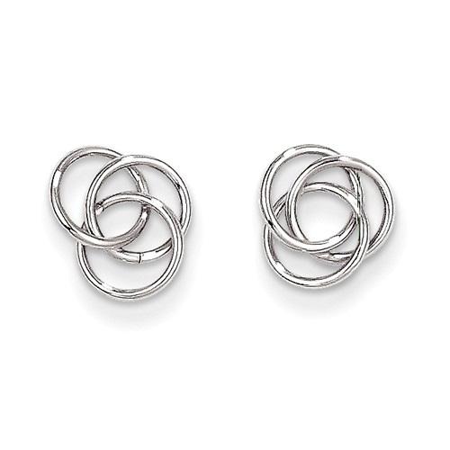 14K White Gold Trinity Knot Earrings