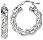 Woven Hoop Earrings in 14K White Gold