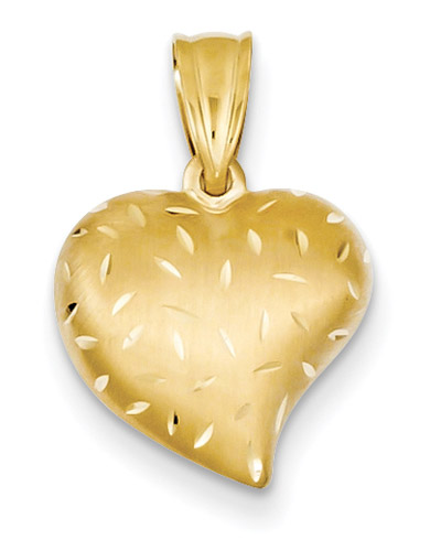 Brushed and Diamond-Cut Heart Pendant, 14K Gold