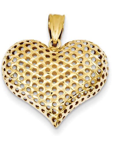 Open Dots 14K Gold Heart Pendant