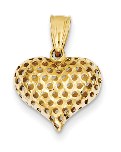 Open Dotted Heart Pendant, 14K Gold
