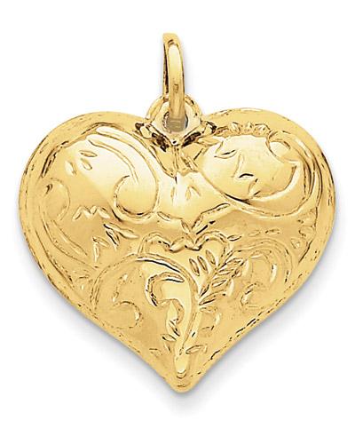 Scrolled Heart Pendant, 14K Gold