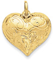 Scrolled Heart Pendant, 14K Gold