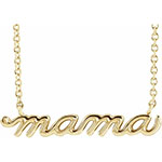 14K Gold Mamma Necklace with Cable Chain, 16