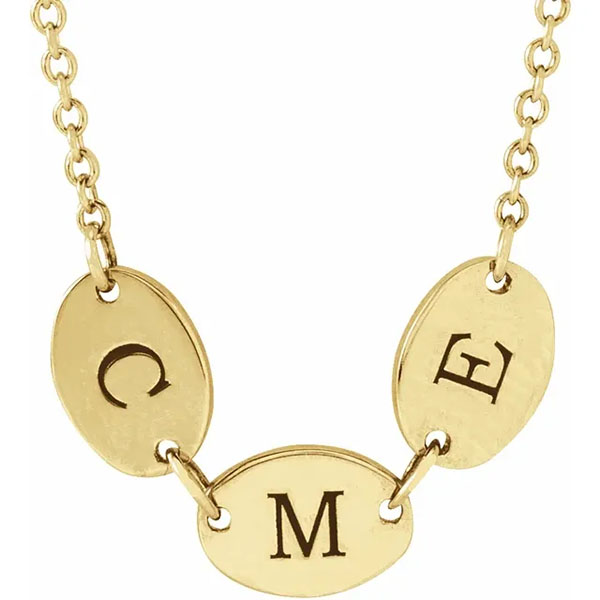 14K Gold Personalized Family Engravable Disc Necklace