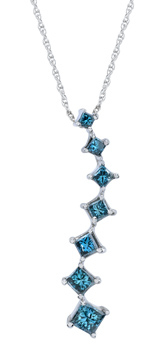 Buy Princess Cut Blue Diamond 1 Carat Journey Pendant, 14K White Gold