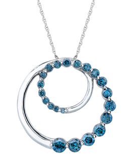 1/2 Carat Blue Diamond Journey Circle Pendant, 14K White Gold