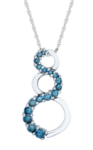 Buy Blue Diamond Circle Swirl Pendant, 14K White Gold