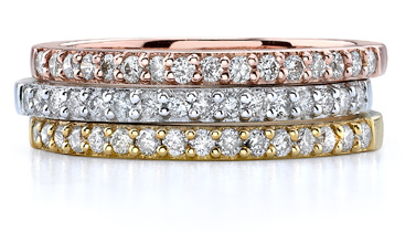 Set of 3 Tri-Color Gold Stackable 0.70 Carat Diamond Bands