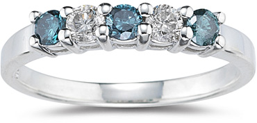 "1/2 Carat 5 Stone ""Blue and White"" Diamond Ring"