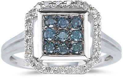 "Buy Octagonal 0.47 Carat  ""Blue and White"" Diamond Ring"