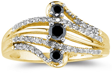 1/2 Carat Black and White Diamond Ring, 10K Yellow Gold