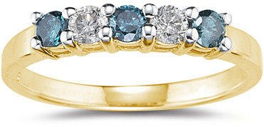 "Buy 1/2 Carat 5 ""Blue and White"" Diamond Ring, 14K Yellow Gold"