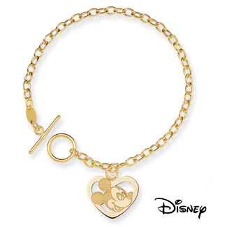 Mickey Mouse Charm Bracelet, 14K Solid Yellow Gold