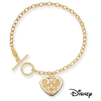 Minnie Mouse Charm Bracelet, 14K Solid Yellow Gold