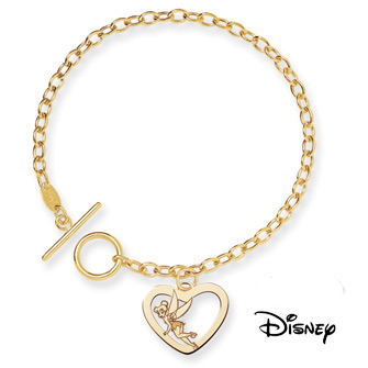 Tinkerbell Charm Bracelet, 14K Solid Yellow Gold