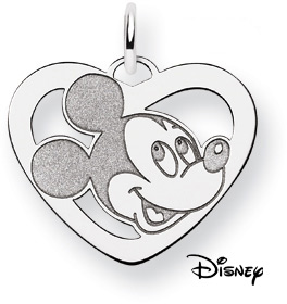 Mickey Mouse Heart Pendant, 14K Solid White Gold