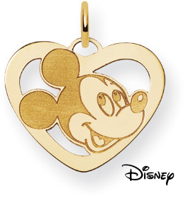 Mickey Mouse Heart Pendant, 14K Solid Yellow Gold