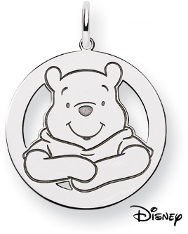 Winnie The Pooh Circle Pendant, Sterling Silver (Pendants, Apples of Gold)
