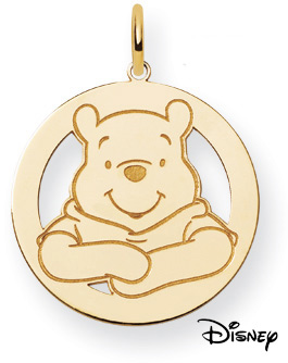 Winnie The Pooh Circle Pendant, 14K Solid Yellow Gold