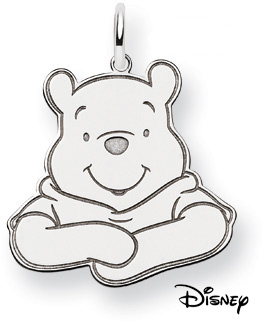 Winnie The Pooh Pendant, 14K Solid White Gold (Pendants, Apples of Gold)