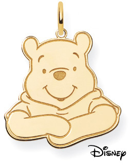 Winnie The Pooh Pendant, 14K Solid Yellow Gold