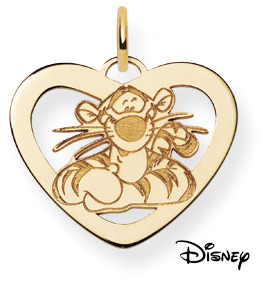 Tigger Heart Pendant, 14K Solid Yellow Gold