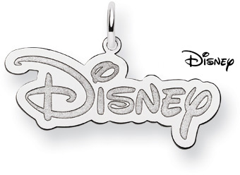 Disney Logo Pendant, 14K Solid White Gold