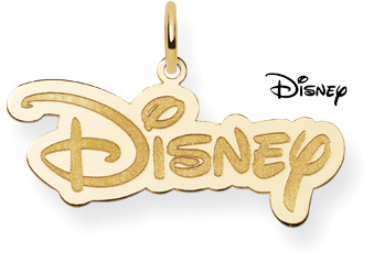 Disney Logo Pendant, 14K Solid Yellow Gold