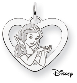 Snow White Pendant, 14K Solid White Gold