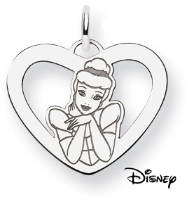 Cinderella Heart Pendant, 14K Solid White Gold (Pendants, Apples of Gold)