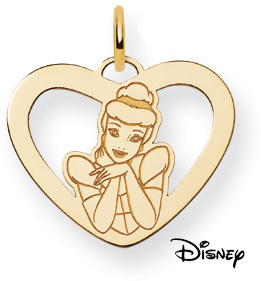 Cinderella Heart Pendant, 14K Solid Yellow Gold
