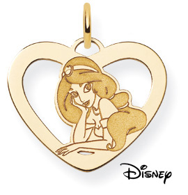 Princess Jasmine Pendant, 14K Solid Yellow Gold