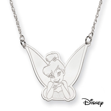 Tinkerbell Necklace, 14K Solid White Gold