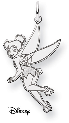 Tinkerbell Pendant, 14K Solid White Gold